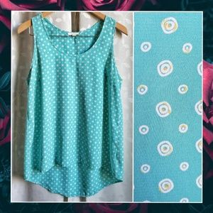 {Pleione}Aqua Blue Circle Print Hi Low Tank Top M